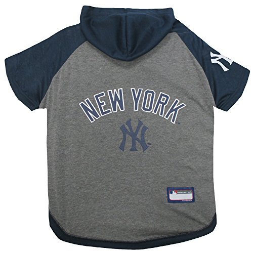 Pets First MLB Hoodie for Dogs & Cats - New York Yankees Dog Hooded T-Shirt, X-Small. - MLB Team Color Hoody