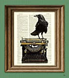 The Dark Muse Raven On a Typewriter Black Bird Crow Illustration Beautifully Upcycled Dictionary Page Book Art Print