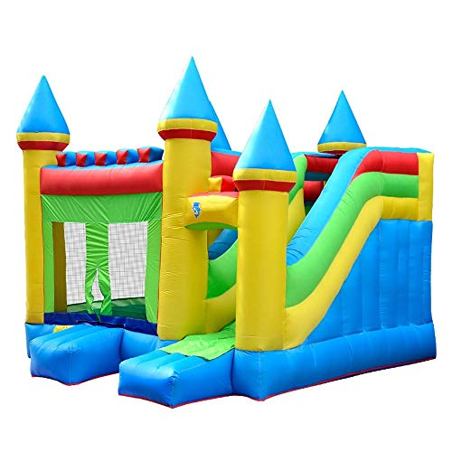 EXCLVEA Inflatable Bouncy Castle Inflatable Castle Jumping Bed Children's Castle Home Slide Indoor And Outdoor Trampoline for Courtyard Playground (Color : Blue, Size : 410×380×410cm)