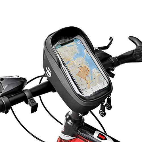 Yolansin Fahrrad Lenkertasche Wasserdicht, Fahrradlenkertasche Reflektierende, Handyhalterung Navigationstasche, MTB Rennrad Lenker Tasche Reißfest, Fahrradtasche mit Kopfhörerloch für GPS Navi