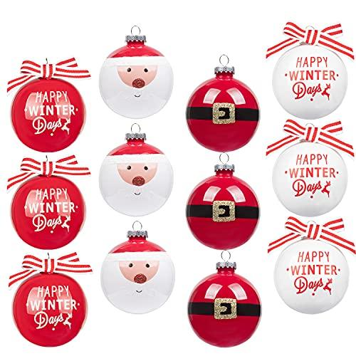 Art Beauty, palline di Natale, infrangibili, 80 mm, 12 pezzi, decorazioni per albero di Natale, 80 mm, fatte a mano per feste di Natale, decorazioni di nozze (80 mm, Babbo Natale)
