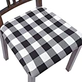 ColorBird Buffalo Check Stretch Spandex Chair Seat Covers with Elastic Ties - Removable Universal Anti-Dust Dining Upholstered Chair Seat Cushion Slipcovers for Kitchen Hotel Office (4, Black & White)