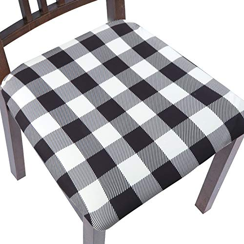ColorBird Buffalo Check Stretch Spandex Chair Seat Covers with Elastic Ties - Removable Universal Anti-Dust Dining Upholstered Chair Seat Cushion Slipcovers for Kitchen Hotel Office (6, Black & White)
