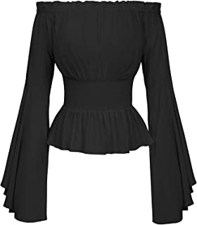 Reliable Womens Medieval Vintage Blouse Retro Victorian Bell Sleeves Tops Renaissance Cosplay Costumes (Color : Black, Siz...