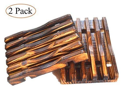 MelonBoat 2 Pack Country Style Wood Shower Soap Dish Set, Wooden Soap Saver Holder, Antiqued Dark...