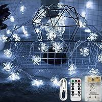 Areskey 雪イルミネーションライト LEDスノーフレークライト 雪片クリスマスライト 10M 80個の雪の飾り ストリングライト 80個LEDs電球 スノーフレークオーナメント フェアリーライト ジュエリーライト 電飾 単三電池式3本、USB式 二種類電源供給 防水クリスマスツリーの飾り 8種類の点滅モード スターガーランドライト Christmas Tree Lights 装飾 結婚式 ホームパーティー お誕生日パーティー クリスマスなどに最適 (ホワイト)