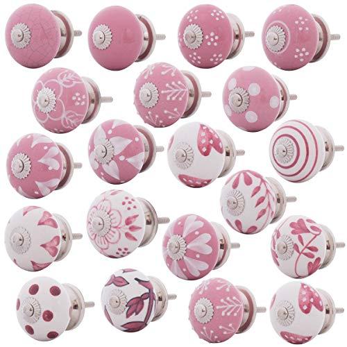 Set Möbelknöpfe Keramik rosa weiss pink 20 Stk. handbemalt Shabby Vintage Knäufe