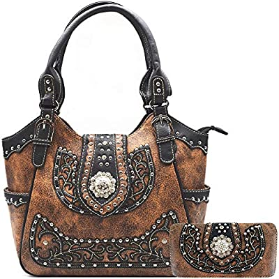 Western Handbag Leather Floral Concho Brown Concealed Carry Purse Women Country Shoulder Bag Wallet Set