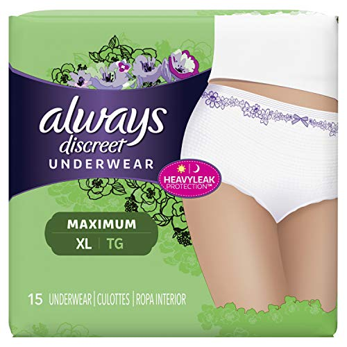 Always Discreet, Incontinence Underwear for Women, Maximum Classic Cut, Extra-Large, 15 Count