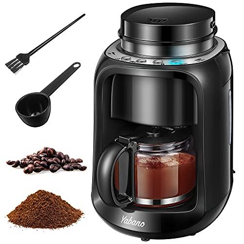 Yabano Grind und Brew Filterkaffeemaschine, 2 IN 1 Kaffeemaschine mit Mahlwerk, Timer, doppeltes Bohnenfach, Auto Warm Halten & Auto Ausschalten, 600 ml Thermoskanne, schwarz