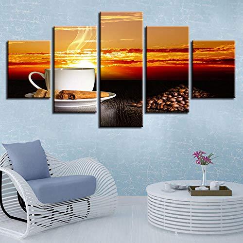 Kunstdruk Op Canvas Hd-Afbeeldingen Frameloze Koffie Zonsondergang Landschap Olieverfschilderij Home Muur Decoratie Canvas Schilderij