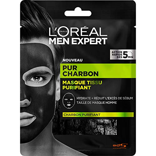 L'Oréal Men Expert - Masque Tissu Purifiant Visage pour Homme - Pur Charbon - 30 g