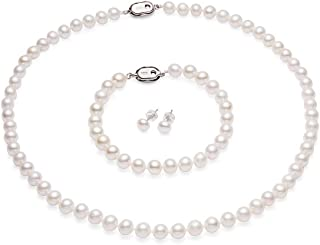 CICILIYA White Freshwater Cultured Pearl Necklace Set Includes Bracelet and Stud Earrings Jewelry for Women and Girls