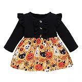 Vestido de Halloween para niñas, vestido de Halloween de calabaza, volante, de manga larga, vestido de tutú, falda de Halloween