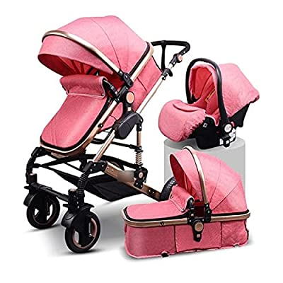 HZPXSB 3 en 1Stroller Baby Luxury Baby Stroller High Landscape Baby Carriage PU Material con Asiento de Coche (Color : Pink)