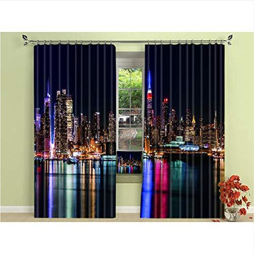 WKJHDFGB New York Night City Nacht Vorhänge Jalousien Draper Foto Print Schwarz Seide 3 Schicht Stoff Vorhänge,245X340Cm