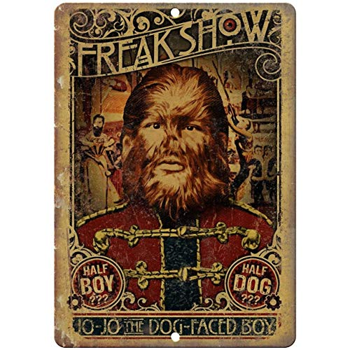 """Freak Show Dog Face Boy Circus Poster Reproduction Metal Sign Vintage Aluminum Plaques Wall Poster for Garage Man Cave Beer Cafee Bar Pub Club Shop Outdoor Home Decor 8"""" x 12"""""""