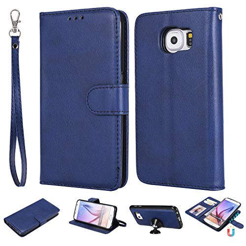 WIWJ Kompatibel Mit Samsung Galaxy S6 Hülle,Schutzhülle für Samsung Galaxy S6,Premium Tasche Cover[2 in 1 Ledertasche]Handyhülle Leder Brieftasche Flip Lederhülle-Blau
