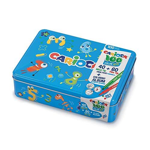CARIOCA Color Box | Pennarelli Lavabili per Bambini Scatola Latta Blu, Set Pennarelli Punta Fine e Punta Grossa con Album da Colorare, 100 Pennarelli