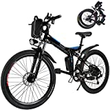 26 inch Folding Electric Mountain Bike for Adults Commuting Electric Bike with 36V 8AH Lithium-Ion Battery 250W Motor 21 Speed Gear & 3 Working Model Electric Bike E-Bike (Black)
