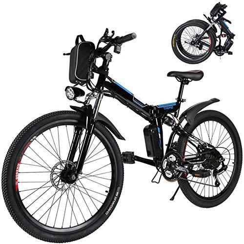 26 inch Folding Electric Mountain Bike for Adults Commuting Electric Bike with 36V 8AH Lithium-Ion Battery 250W Motor 21 Speed Gear & 3 Working Model Electric Bike E-Bike (Black)