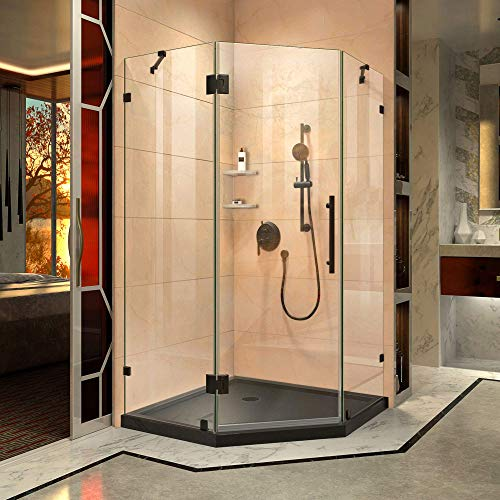 "DreamLine DL-6053-88-09 Prism Lux 42"" x 42"" Frameless Hinged Corner Shower Enclosure with Black Acrylic Base Kit, Satin"