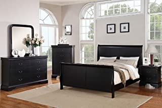 Poundex Louis Phillipe Bedroom Set Featuring French Style Sleigh Platform Bed and Matching Nightstand, Dresser, Mirror, Chest, Queen, Black