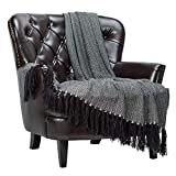 Chanasya Mini Chevron Super Soft Throw Blanket with Tassels Warm Cozy Lightweight Blanket for Bed Sofa Chair Couch Cover Living Bed Room Black and White Chevron Blanket (50x65 Inches)