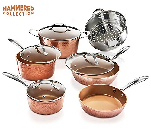 Gotham Steel Hammered 10 Piece Hammered Cookware Set, Oven Safe, Dishwasher Safe - Elegant Pots & Pans