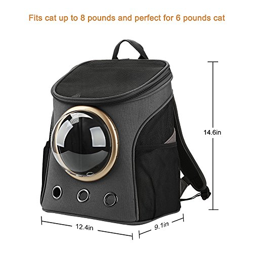 Texsens Canvas Transparent and Breathable Capsule Portable Pet Backpack for Spring Outing(Dark Gray)