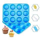 Ninonly Stampo Muffin Silicone Silicone Muffin Teglie da Forno stampi Set di 2 teglie per Muffin Cupcake Brownie Budino Senza BPA, Antiaderente, Utilizzabile nel Forno a Microonde