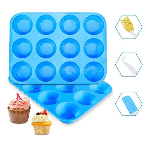 Stampo Muffin Silicone Ninonly Silicone Muffin Teglie da forno stampi Set di 2 teglie per muffin Cupcake Brownie Budino Senza BPA, Antiaderente, Utilizzabile nel Forno a Microonde