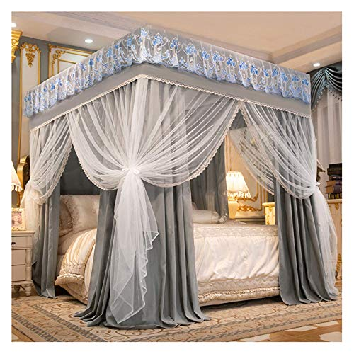 ZHIQIANG Mosquitera para cama con dosel gris, apertura para decoración de dormitorio, para niñas, sombreado, cortina para cama (tamaño para cama de 1,8 m/6 pies)