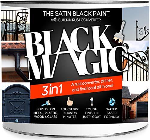 Black Magic 3-in-1 Black Rust Converter, Primer & Paint (1 Litre) -...