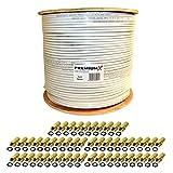 Hochwertig verarbeitetes PremiumX BASIC Koaxialkabel für digitale Sat Anlagen Digital, HDTV, DVB-S, DVB-S2, DVB-T und DVB-C tauglich Kabelspezifikation: Kupfer/Stahl Innenleiter: 1,02 mm Außendurchmesser: 7,54 mm Schirmungsmaß: 135 dB Schirmung: 4-fa...