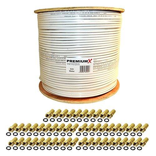 PremiumX 500m 135dB Koaxial SAT Kabel Antennenkabel Koaxkabel 4-Fach geschirmt Weiß für Ultra HD 4K DVB-S / S2 DVB-C DVB-T BK Anlagen mit 100x vergoldete F-Stecker Set