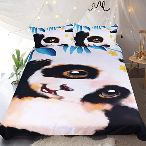 JNBGYAPS 3D Effect Printed duvet cover Cute panda Bedding set with Pillocases (with Zipper Closure) Soft Microfiber Quilt Cover Single 135X200cm