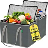 XL Insulated Shopping Bags for Groceries (2-Pack) - Premium Quality Cooler Bag – Washable, Reinforced Bottom and Handles, Sturdy Zipper – Best Insulated Grocery Bags for hot or Cold Food, Food Delivery Bag