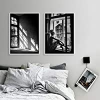 Nordic Black and White Posters Girl Canvas Painting Love Poster Wall Art Pictures Art Print for Bedroom 51x71cmx2 Unframed