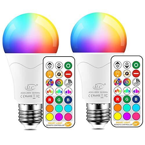 iLC LED Lampe ersetzt 85W, 1050 Lumen, RGB Glühbirne mit Fernbedienung Farbwechsel Farbige Birne warmweiß (2700 Kelvin), Edison E27 (2-er Pack)