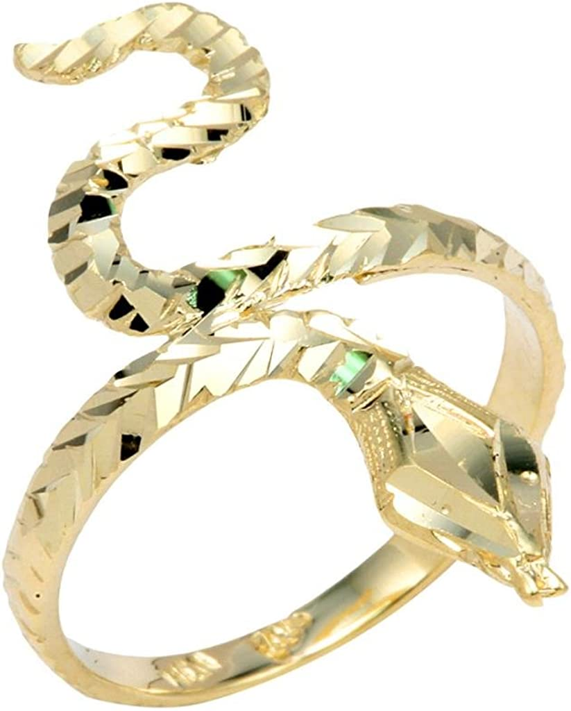 All stores are sold Stunning Daily bargain sale 14k Yellow Gold Band Infinity Ring Snake Water Head Sea