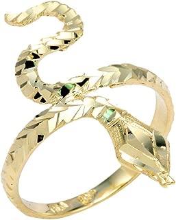 Stunning 14k Yellow Gold Band Infinity Water Sea Snake Head Ring