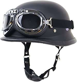 GuoYq Motorradhelm mit offenem Gesicht Retro Halbhelm Harley Lokomotivenhelm Schutzhelm im Freien DOT Zulassung mit Brille, für Männer und Frauen