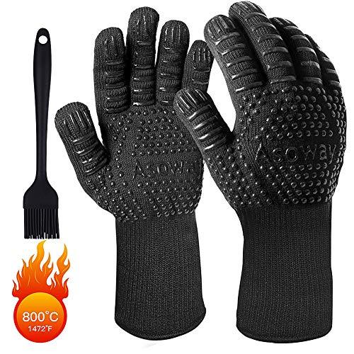 BBQ Handschuhe,ASOWAY Hitzebeständige Handschuhe zum Grillen Hitzebeständige Handschuhe zum Grillen Backofen Kochen Backen Küche Grillhandschuhe mit Fingern,1472°F/800℃ Beständigkeit Schwarz