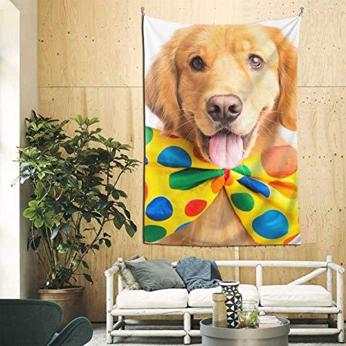 XiexHOME 60x90 Zoll hängende Schmuckwand niedlich Happy Dog Wear Krawatte Wandteppiche Wandkunst für Wohnung Wohnheim Zimmer Hintergrund Home Decor