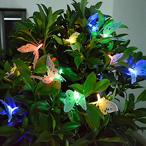 Luces De Cuerda De Jardín Solar Exteriores, 12 Led De Hadas Con Energía Solar 2 Modos a Impermeable Ip44 Para Decoraciones De Jardín, Hogar, Bodas Y Fiestas (Mariposa)