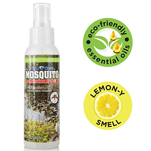 All Natural Mosquito Repellent - Non-Toxic Bug Spray - DEET Free, Lemongrass Essential Oils Formula - Great for Outdoors, Yard, Adults, Kids, Babies & Pets - Eagle Watch Mosquito Killer (3.3oz)