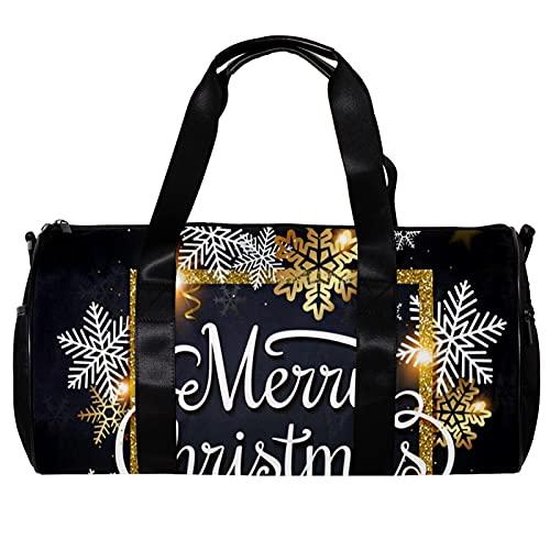 Bolsa de deporte redonda con correa de hombro desmontable para Navidad, copos de nieve en fondo negro, bolsa de entrenamiento para mujeres y hombres
