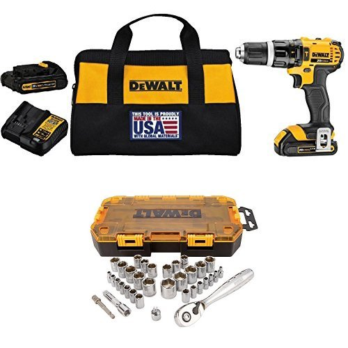 "DEWALT DCD785C2 20V MAX Lithium Ion Compact 1.5 Ah Hammer Drill/Driver Kit with  DWMT73804 Drive Socket Set (34 Piece), 1/4"" and 3/8"""