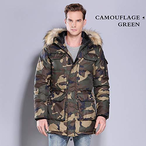 YGCLOTHES Léger Épaissir Hommes Vestes De Camouflage vers Le Bas, avec Capuche Zipper Chaud Respirant Long Casual Manteau Isolé,B,S